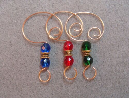 =^..^=  12 Faceted Glass Bead Ornament Hangers Hooks Red Green Blue with Gold