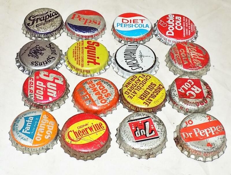 Lot of 16 Vintage Soda Bottle Caps Fanta Sundrop Squirt Pepsi Cheerwine RC BC1