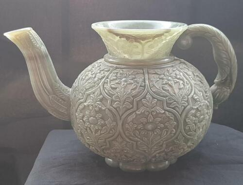 Museum quality Rare hand carved Mughal style Deccan persian Jade islamic pot