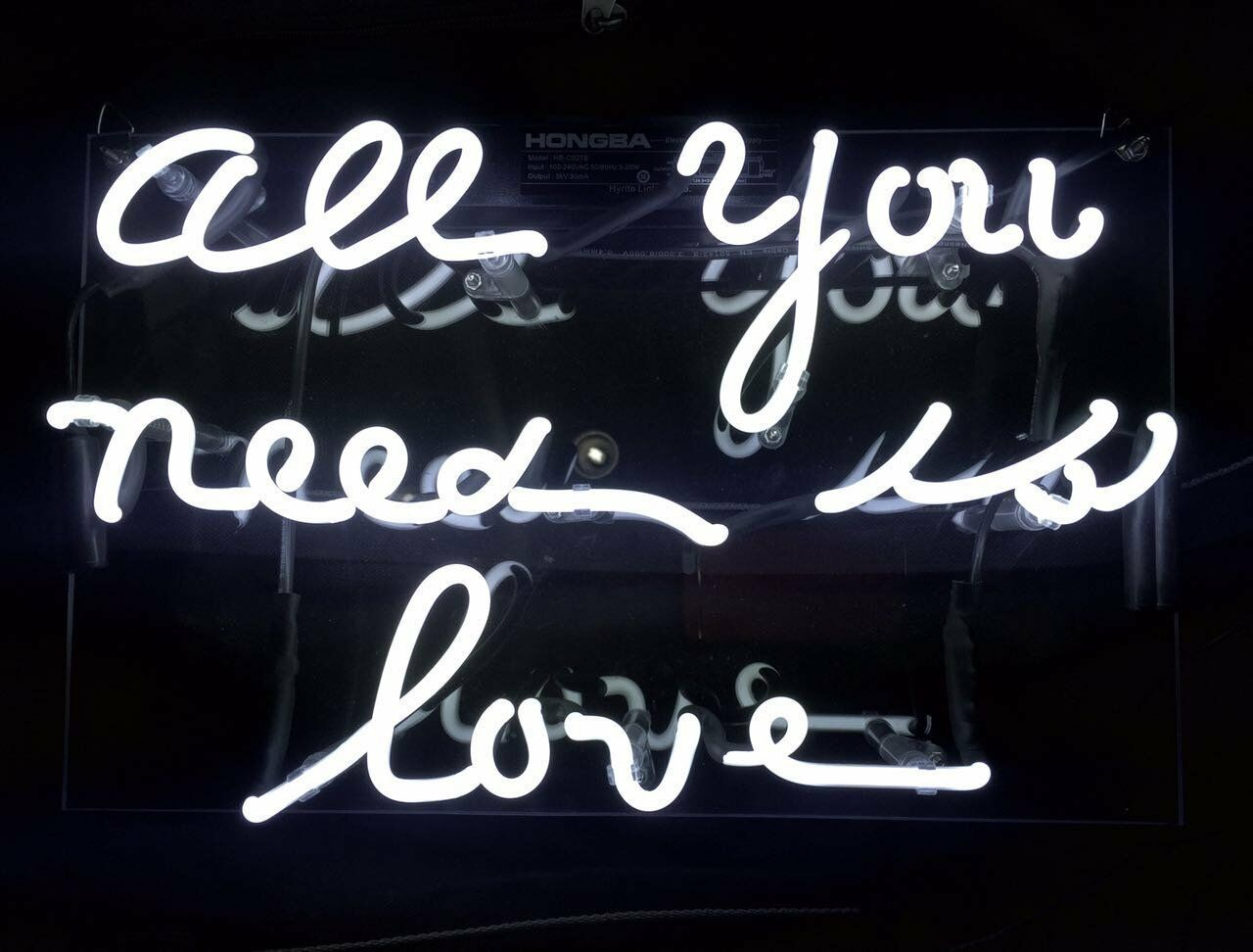 Neon Signs ALL YOU NEED IS LOVE Real Glass For Pub Store Bed