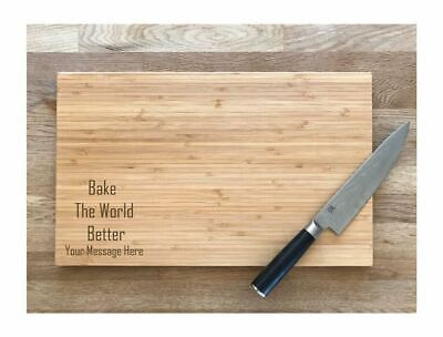 Bamboo Chopping Board Bake The World Better 2 Sizes Laser