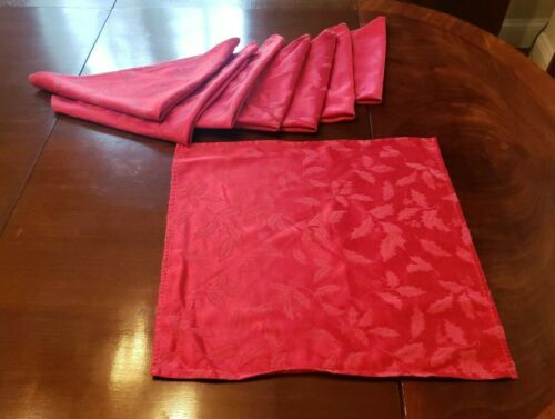 "Lenox Damask Table Napkins Red Holly Set 8 18"" Square"