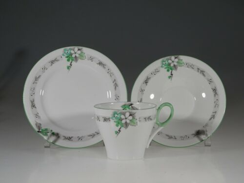 Shelley White and Green with Gray Floral Tea Trio (#12584), England c. 1925