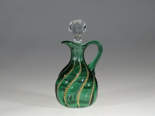 EAPG Duncan Glass Company Green Beaded Swirl Cruet c.1890