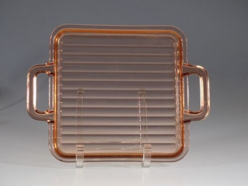 Vintage Deco Depression Glass Pink Ribbed Handled Tray c.1930