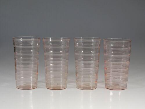Set of 4 Vintage Deco Hocking Glass Pink Block Optic Ice Tea Tumblers c.1935