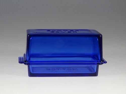 Rare Vintage Deco Hazel Atlas Glass Cobalt Blue Embossed Butter with Lid c.1930