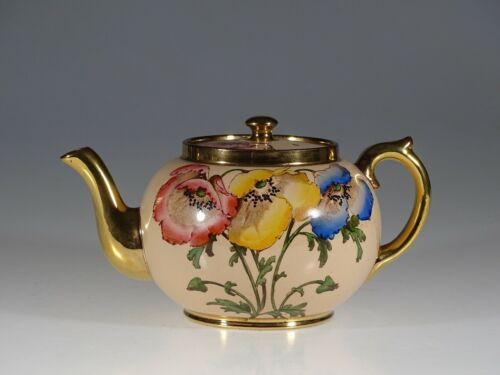 Gibsons Pink and Gold with Anemones Flowers Round Tea Pot, England