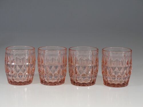 Set of 4 Deco Jeannette Glass Company Pink Windsor Diamond Juice Tumblers c.1935