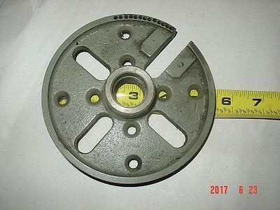One Six Inch Cast Iron Face Plate With Mandral For 6 Lathes Or Larger