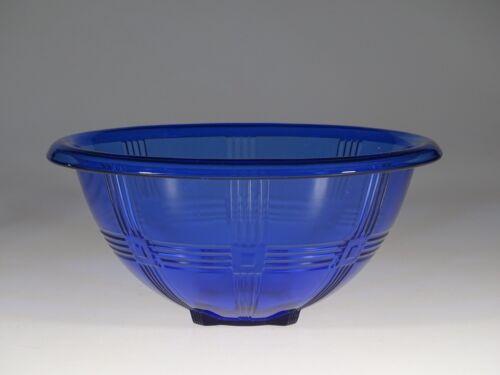 Scarce Hazel-Atlas Glass Cobalt Blue Criss Cross 10-1/2 Inch Mixing Bowl c.1935