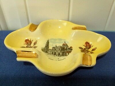 Vintage POMPEI-IL SANTUARIO Picture Yellow w/Roses and Gold Color Ashtray Italy