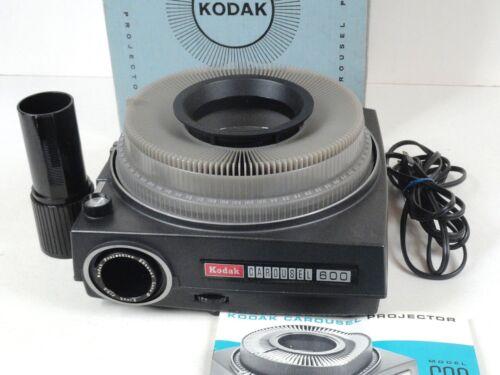 Kodak Carousel 600 Slide Projector w/Box Manual 140 Tray 2 lenses - Works Great!