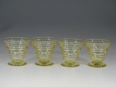 Set of 4 Vintage Fostoria Glass Yellow #2449 Hermitage Cocktail Glasses c.1935