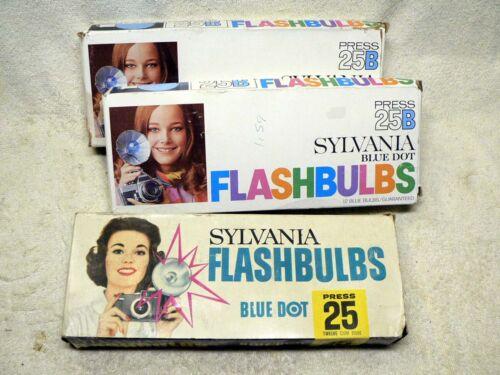 THREE Full Boxes Sylvania Blue Dot #25 #25B FLASHBULBS Flash Bulbs - 36 Total