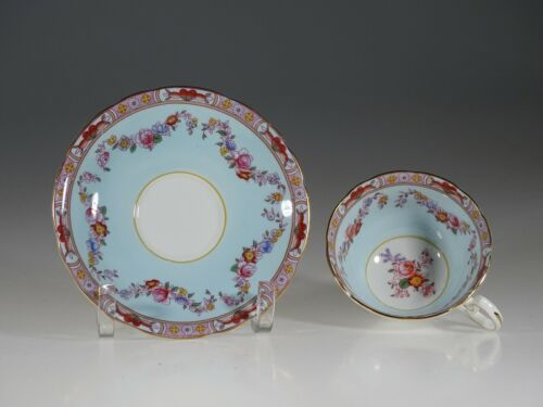 Aynsley Antique Blue with Rose Garland Tea Cup and Saucer, England c. 1920