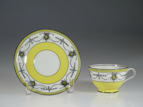 Aynsley Antique Yellow with Rose Garland Tea Cup and Saucer, England c. 1890