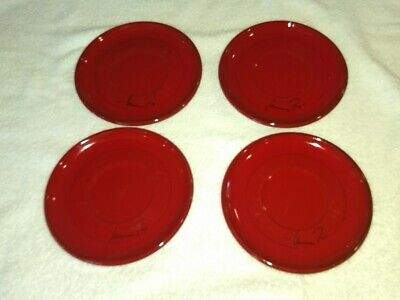 """Mamma Ro Red set of 4 Vintage Saucers 6.5"""""""