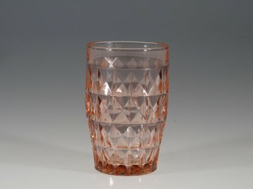 "Deco Jeannette Glass Company Pink Windsor Diamond 4-5/8"" Ice Tea Tumbler c.1935"