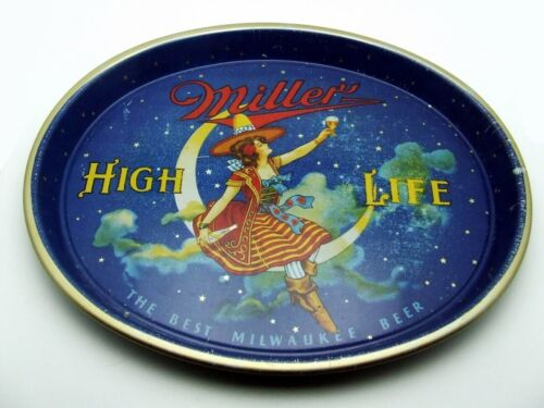 ANTIQUE 1940s MILLER BEER HIGH LIFE GIRL ON MOON OVAL TRAY