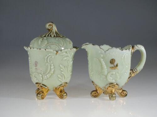 EAPG Northwood Custard Glass Louis XV Cream & Sugar Set c.1901