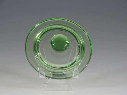 Vintage Deco Hocking Glass Green 3-3/4 Inch Canister Lid c.1930
