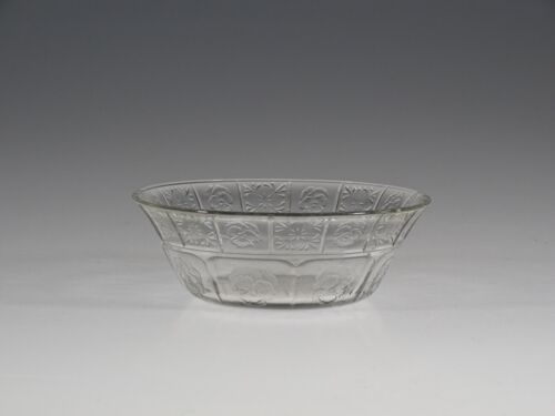 Vintage Jeannette Glass Crystal Doric & Pansy Small Berry Bowl c.1937