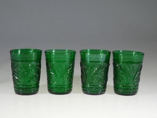 Set of 4 Vintage Hocking Glass Green Sandwich Water Tumblers c.1955