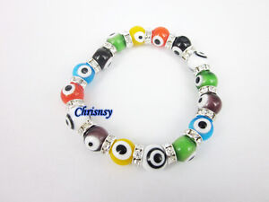 Multicolor Bracelet Evil Eye Beads Murano Glass 1pcs