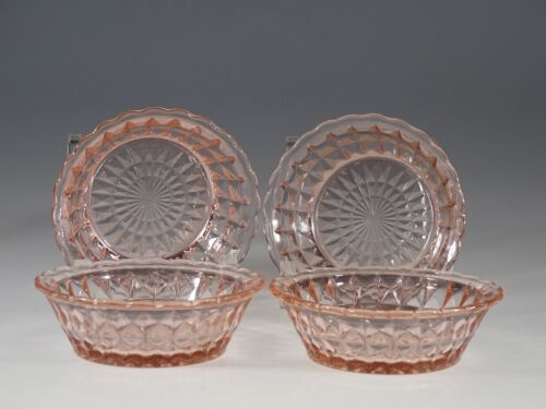 Set of 4 Deco Jeannette Glass Company Pink Windsor Small Berry Bowls c.1935