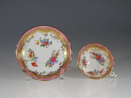 Hammersley Pink and Gold with Red Roses Tea Cup and Saucer, England c.1950