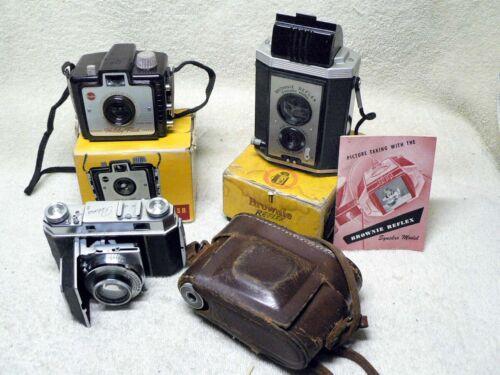 THREE Antique KODAK Cameras-  RETINA II, Holiday Flash & Brownie Reflex w/ Boxes