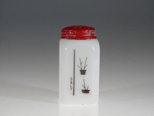 Scarce Deco McKee Glass Milk Glass Sticks Flower Pots Salt Range Shaker c.1935