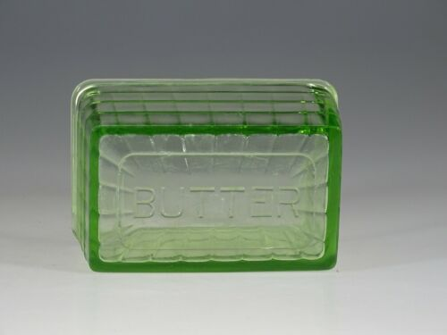 Vintage Deco Hocking Glass Company Green Block Optic Butter Dish Lid c.1935