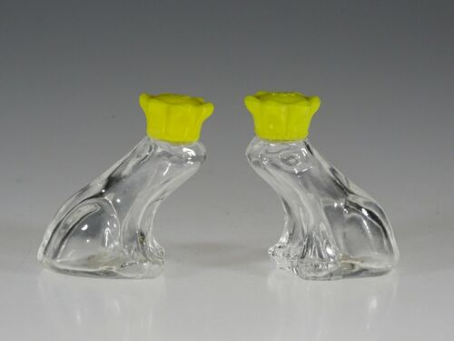 Vintage Czech Glass Crystal Frog Yellow Crown Salt & Pepper Set Original Labels
