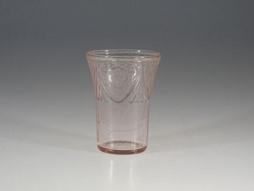 Vintage Hazel Atlas Glass Pink Royal Lace Souvenir Water Tumbler Midland c.1935