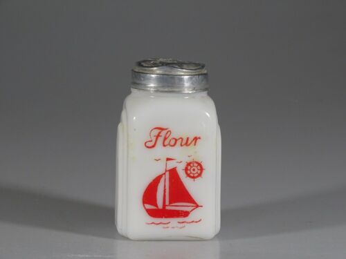 Vintage Deco McKee Glass Roman Arches Red Sailboat Flour Shaker c.1935