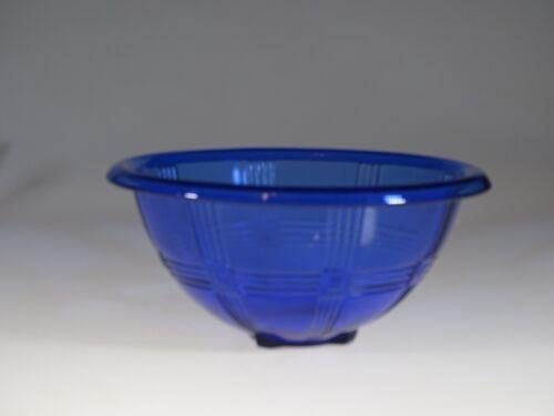 Scarce Hazel-Atlas Glass Cobalt Blue Criss Cross 9-1/2 Inch Mixing Bowl c.1935