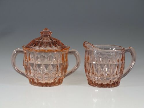Deco Jeannette Glass Company Pink Windsor Cream Sugar & Lid Set c.1935