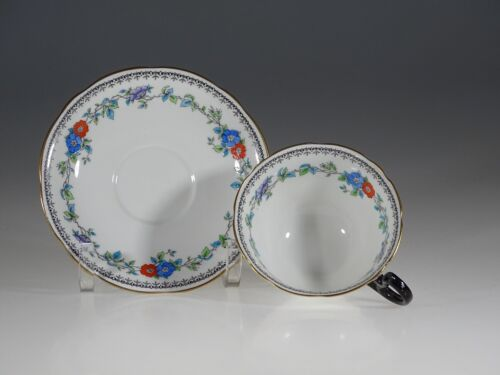 Aynsley Antique Floral Garland Tea Cup and Saucer, England c.1891-1920
