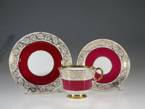 Adderley China Burgundy and Gold Gilt Tea Cup and Saucer Trio, England