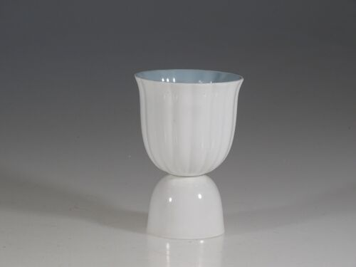 Susie Cooper Vintage White Swirl Egg Cup with Blue Trim, England c. 1960