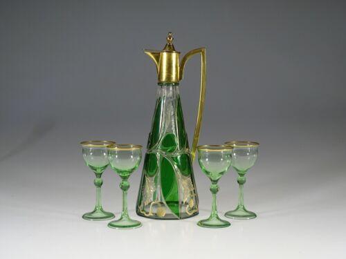 Fabulous Harrach Glass Works Jungenstil Art Nouveau Green Decanter Set c.1910