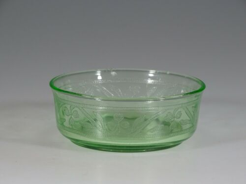 Vintage Hazel Atlas Glass Green Cloverleaf Small Berry Bowl c.1935