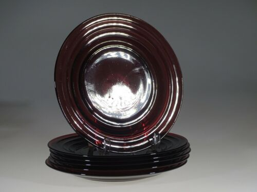 Set of 6 Vintage Hazel Atlas Glass Amethyst Moderntone Dinner Plates Mint c.1935