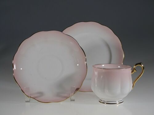 Royal Albert Rainbow Pink Tea Cup, Saucer & Plate Trio, England