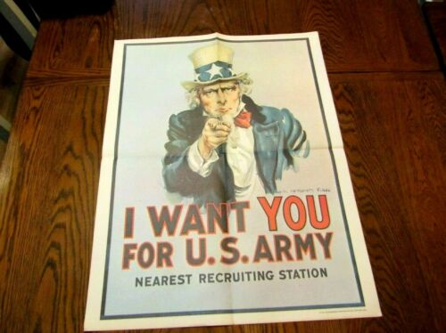 1975 UNCLE SAM POSTER  I WANT YOU U.S. ARMY NEAREST RECRUITING STATION POSTER