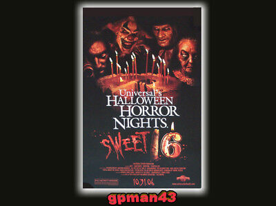 Universal Halloween Horror Nights Sweet 16 Poster HHN Jack The Clown 2006 RARE