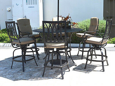 "7 Piece Patio Bar Set Cast Aluminum Grand Tuscany Bar Stools With 60"" Rnd Table"
