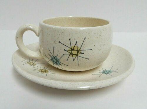 Franciscan Atomic Starburst Tea Cup & Saucer Set  MCM USA VGUC